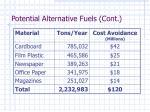 potential alternative fuels cont