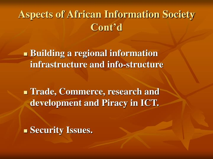 Aspects of African Information Society