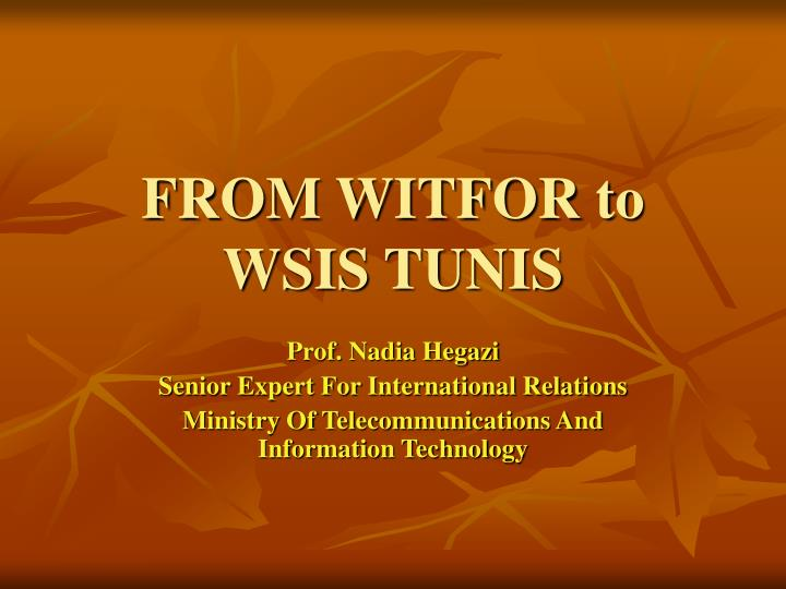 From witfor to wsis tunis
