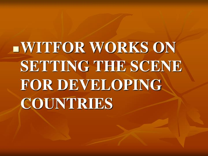 WITFOR WORKS ON SETTING THE SCENE FOR DEVELOPING COUNTRIES