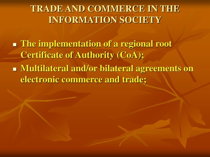 TRADE AND COMMERCE IN THE INFORMATION SOCIETY