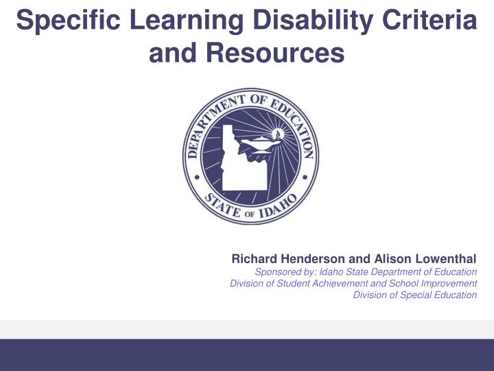 Specific learning disability criteria and resources