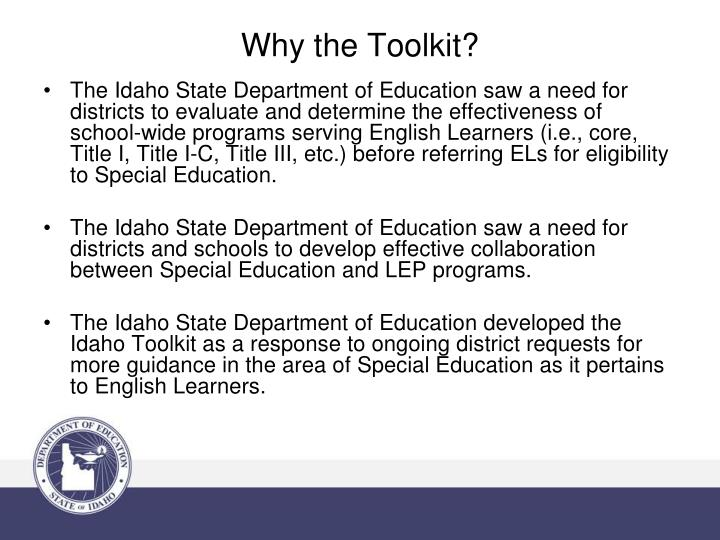 Why the Toolkit?