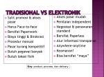 tradisional vs elektronik