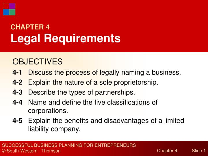 chapter 4 legal requirements n.