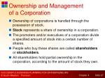 ownership and management of a corporation