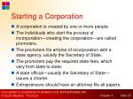 starting a corporation