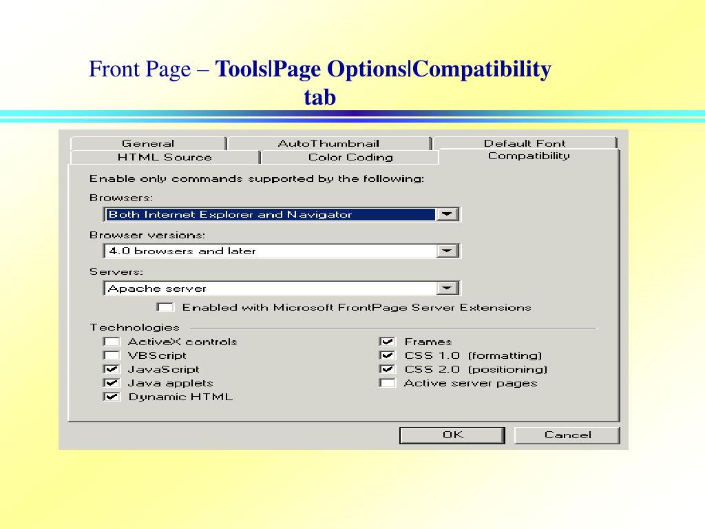 Ppt A Note For Frontpage Users Powerpoint Presentation
