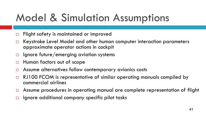 Model & Simulation Assumptions