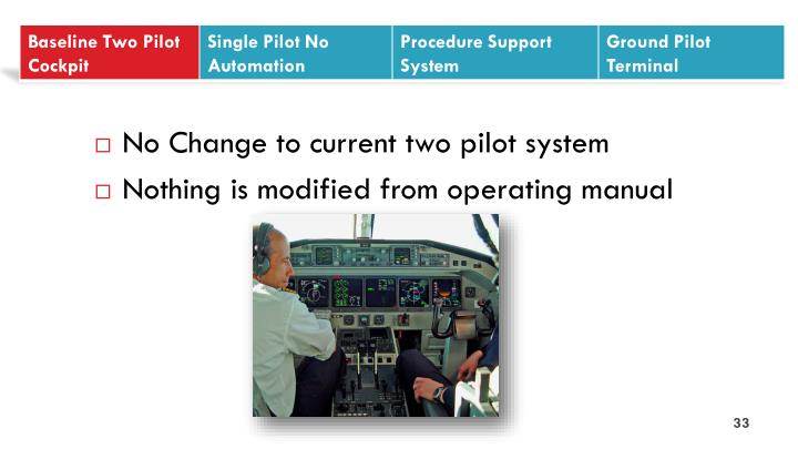 No Change to current two pilot system