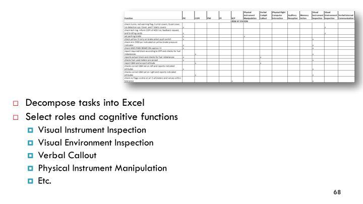 Decompose tasks into Excel