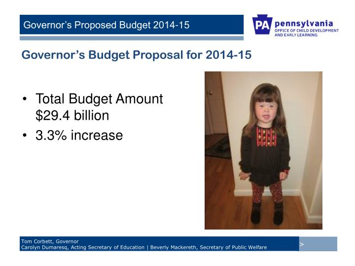 Governor's Budget Proposal for 2014-15