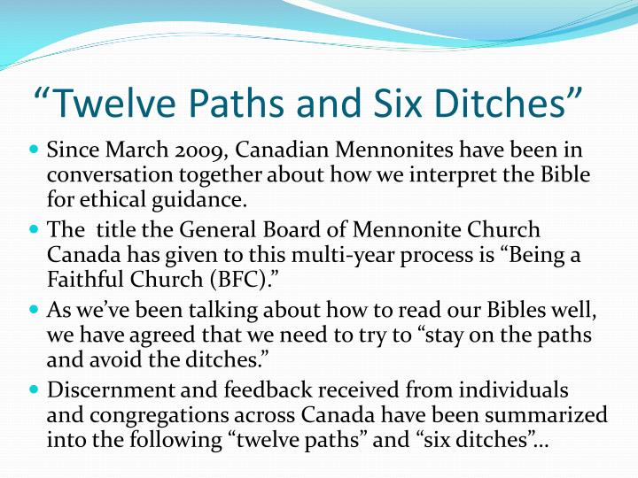 Twelve paths and six ditches