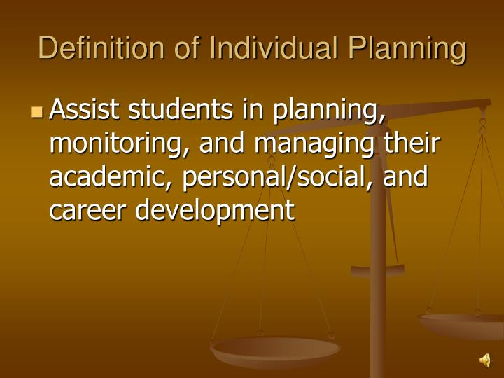 Definition of individual planning