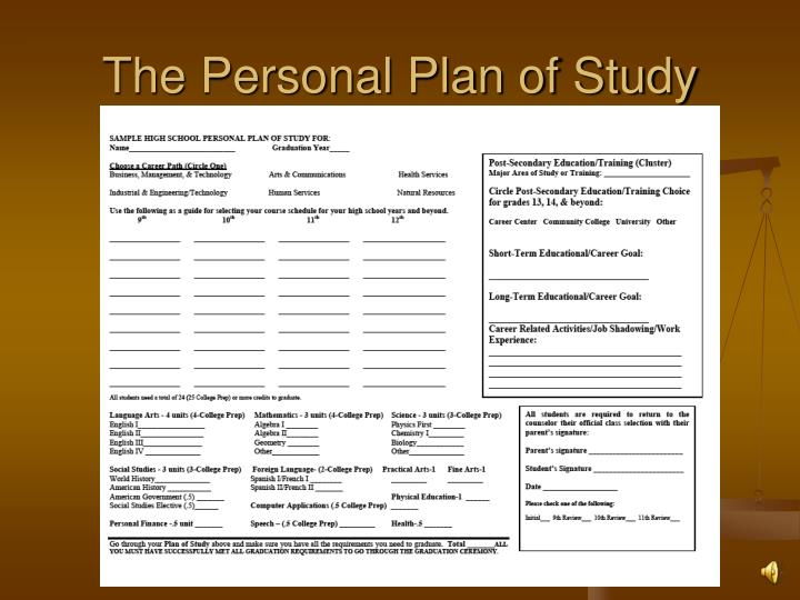 The Personal Plan of Study