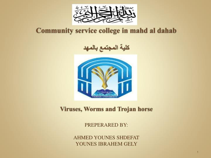 Community service college in mahd al dahab viruses worms and trojan horse