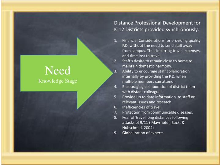 Distance Professional Development for K-12 Districts provided synchronously: