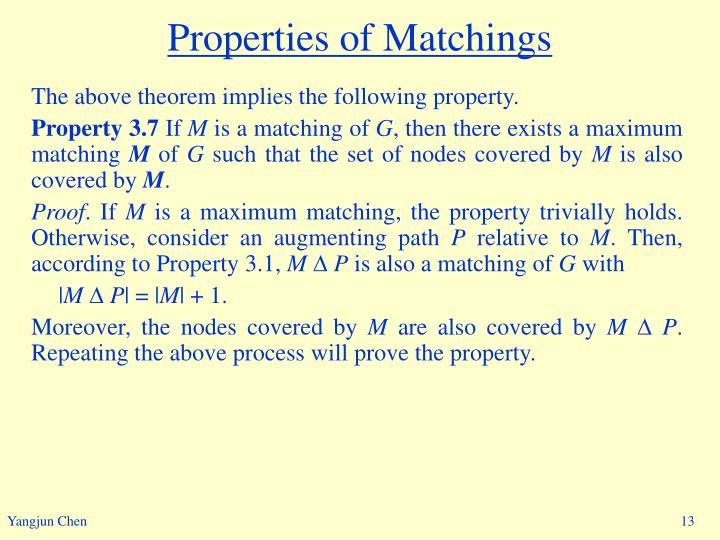 Properties of Matchings