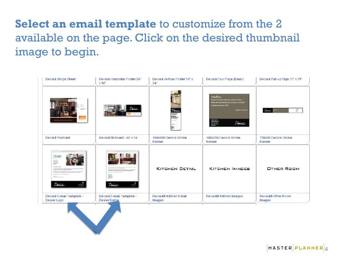 Select an email template