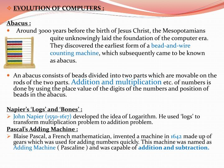 EVOLUTION OF COMPUTERS :