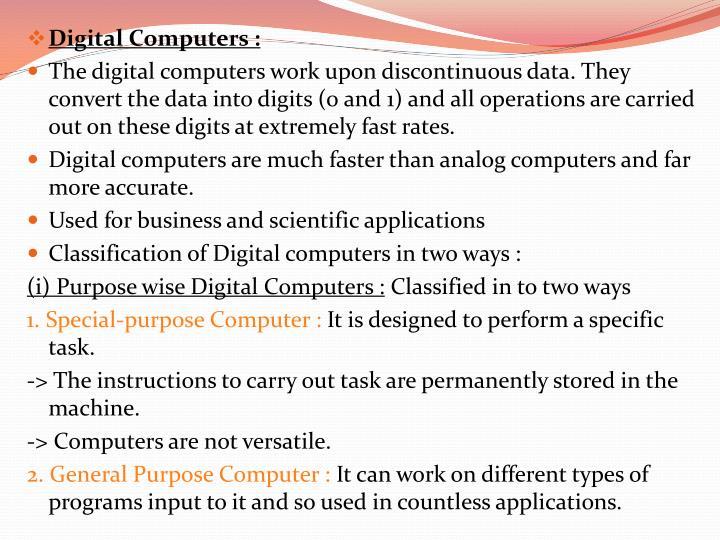 Digital Computers :