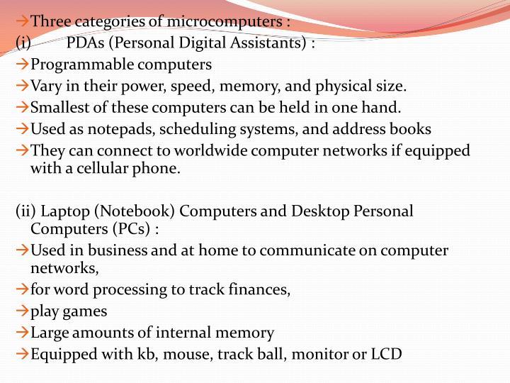 Three categories of microcomputers :