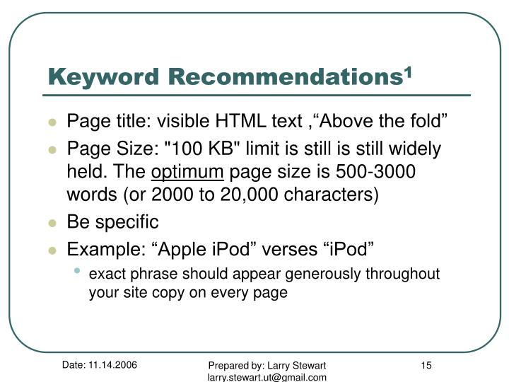 Keyword Recommendations