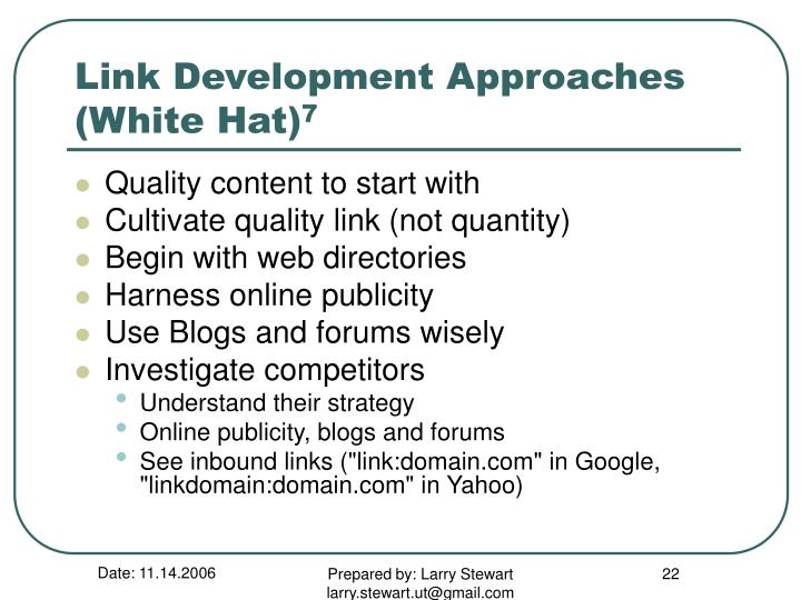 Link Development Approaches (White Hat)