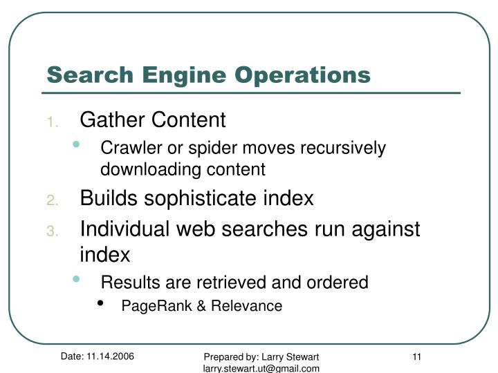 Search Engine Operations