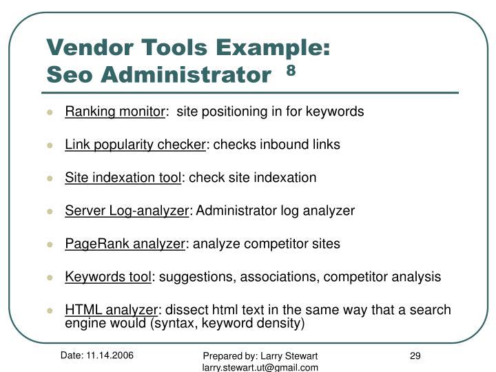 Vendor Tools Example: