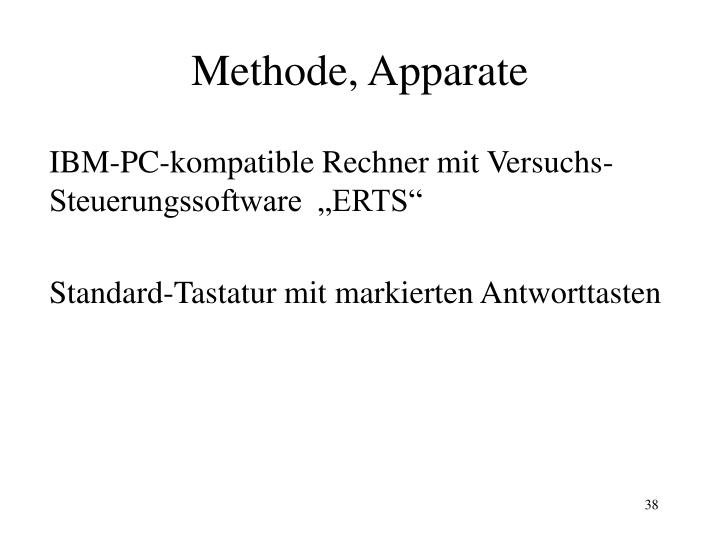 Methode, Apparate