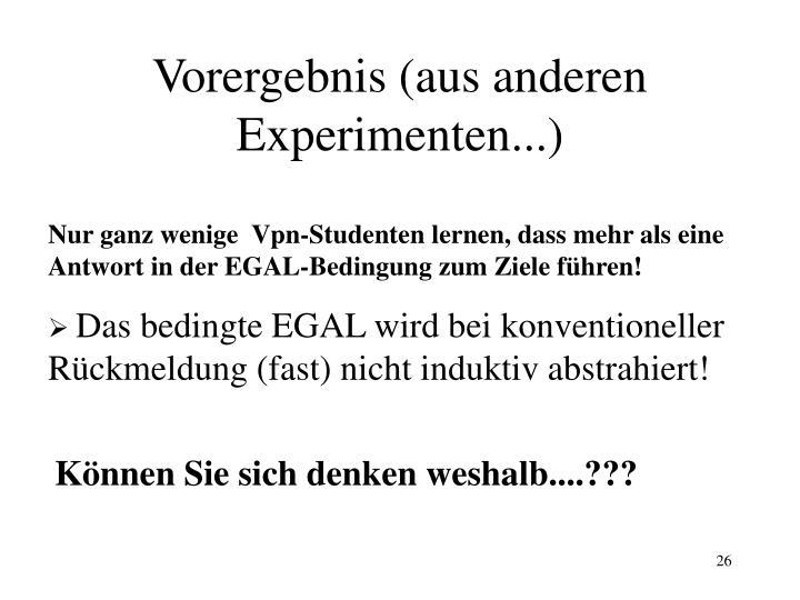 Vorergebnis (aus anderen Experimenten...)