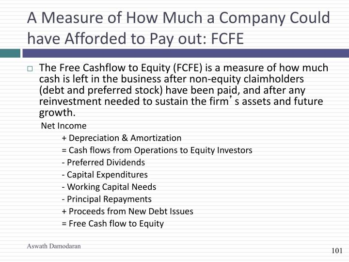 A Measure of How Much a Company Could have Afforded to Pay out: FCFE