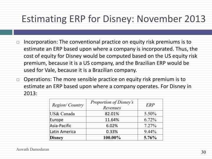 Estimating ERP for Disney: November 2013