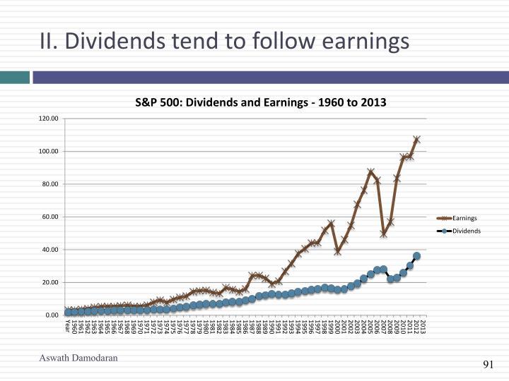 II. Dividends tend to follow earnings
