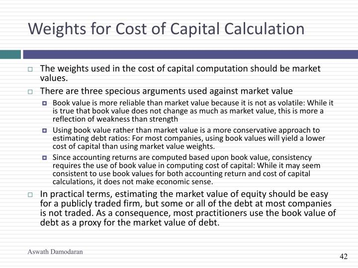 Weights for Cost of Capital Calculation
