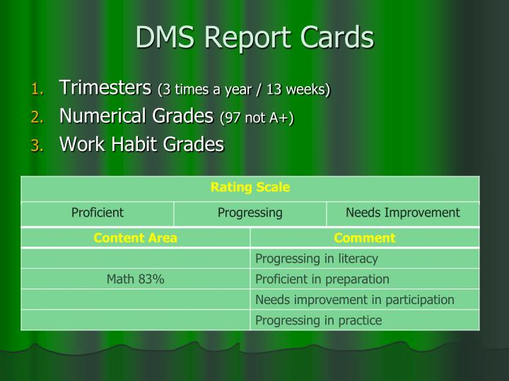 DMS Report Cards