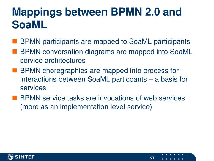 Mappings between BPMN 2.0 and SoaML