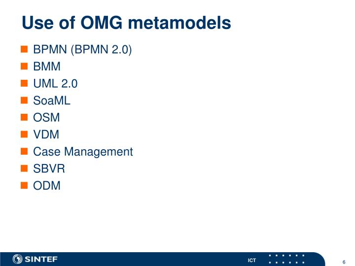 Use of OMG metamodels