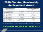2010 chapter membership achievement award