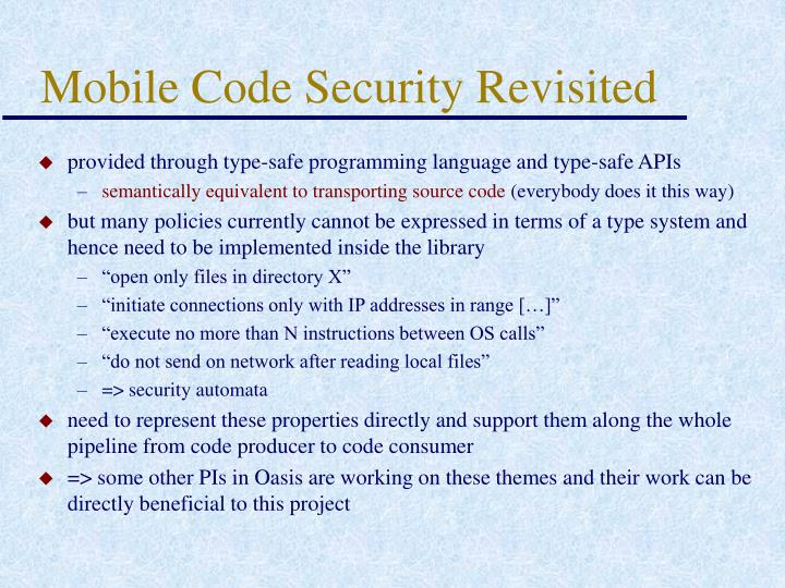 Mobile Code Security Revisited