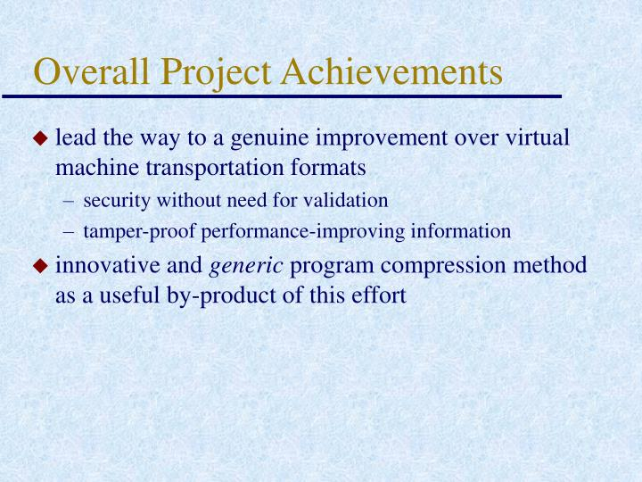 Overall Project Achievements