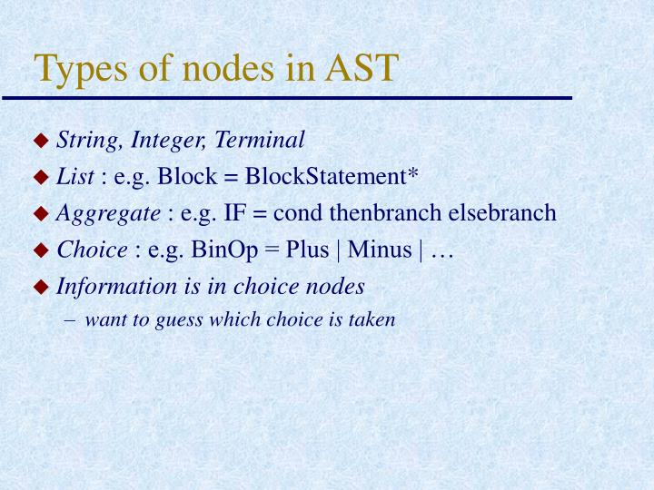 Types of nodes in AST