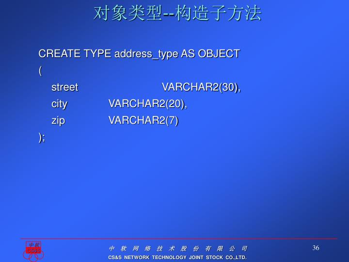 CREATE TYPE address_type AS OBJECT