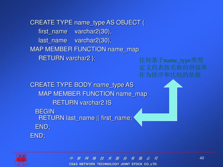 CREATE TYPE name_type AS OBJECT (