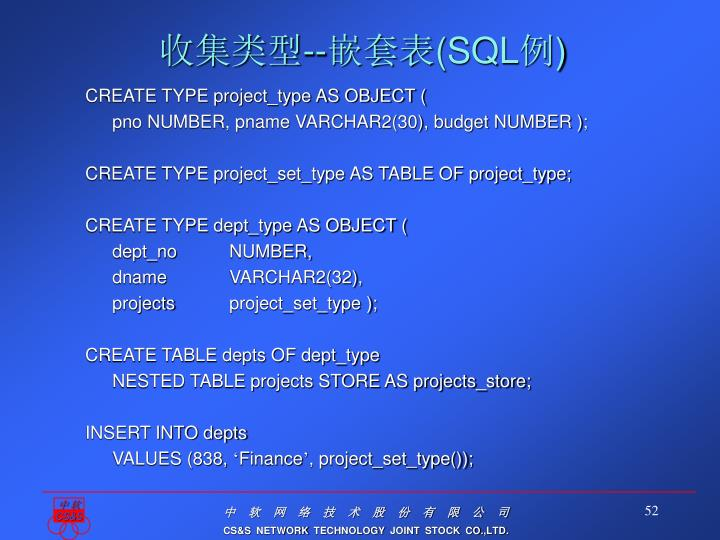 CREATE TYPE project_type AS OBJECT (