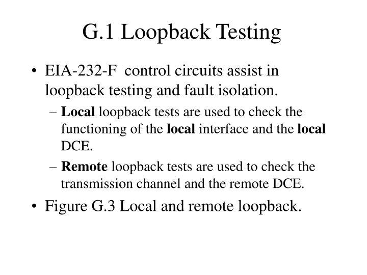 G.1 Loopback Testing