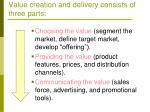 value creation and delivery consists of three parts