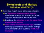 stylesheets and markup difficulties with html 2