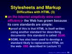 stylesheets and markup difficulties with html 3